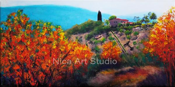 Toskana Landschaft, 2019, 80 x 40 cm, Leinwanddruck mit Acryl