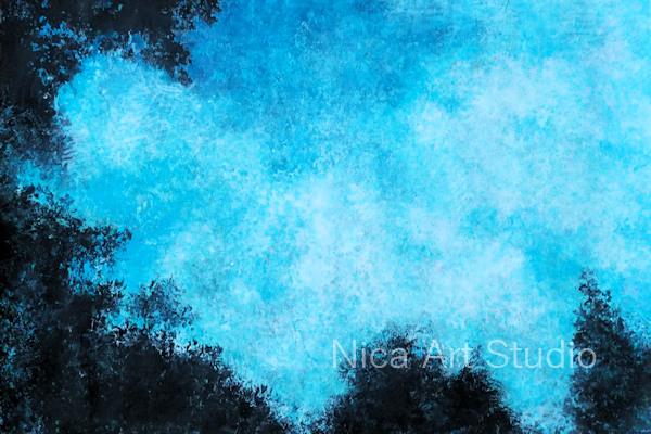 Himmel mit Bäumen, 2019, 30 x 21 cm, Fluid Painting auf Papier mit Transfer und Acrylfarbe