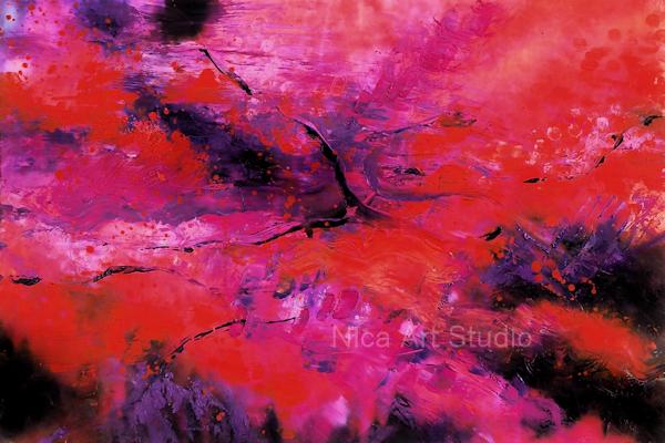 Rot-pink-lila Abstraktion, 2021, 45 x 30 cm, Ölmalerei auf Fotografie