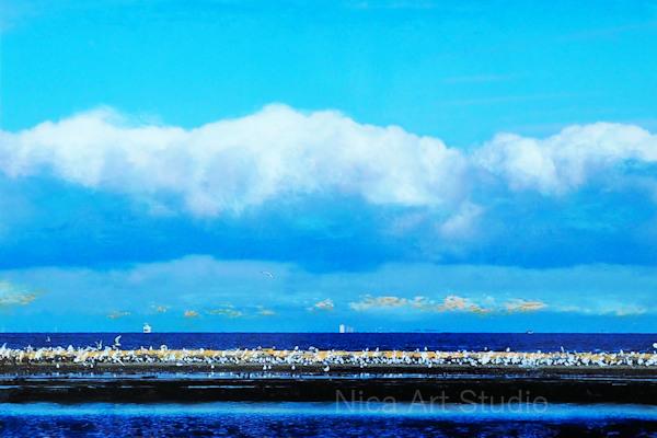 Sandbank, 2019, 30 x 20 cm, Fotografie mit Ölfarbe, in der Galerie KuRa Hamburg