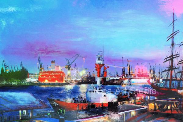 Blaue Stunde am Hafen, 2019, 30 x 20 cm, Fotografie mit Ölfarbe