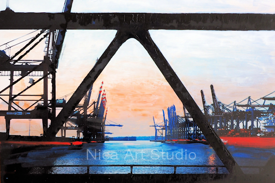 Waltershofer Hafen, 2018, 30 x 20 cm, Fotografie mit Ölfarbe
