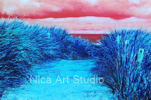 Strandweg, 2018, 30 x 20 cm, Fotografie mit Ölfarbe