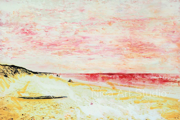Beach with pink sky, 2019, 30 x 20 cm, photography with oil color