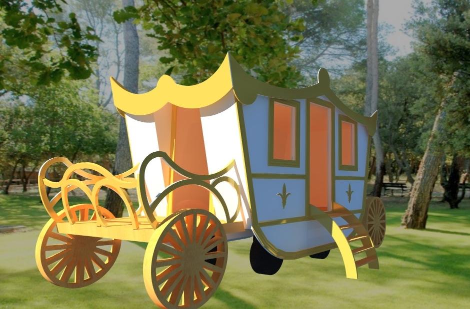 carrosse cendrillon princesse nid mariage féerique roulotte