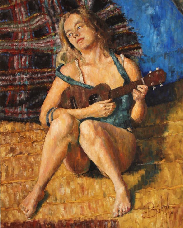 """""""Anastaisa with ukulele"""" 2017 - Öl auf Leinwand - 100x80 cm"""