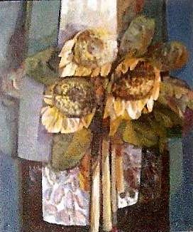 """Composition avec tournasols"" 1987 - Öl auf Leinwand - 70x60 cm"