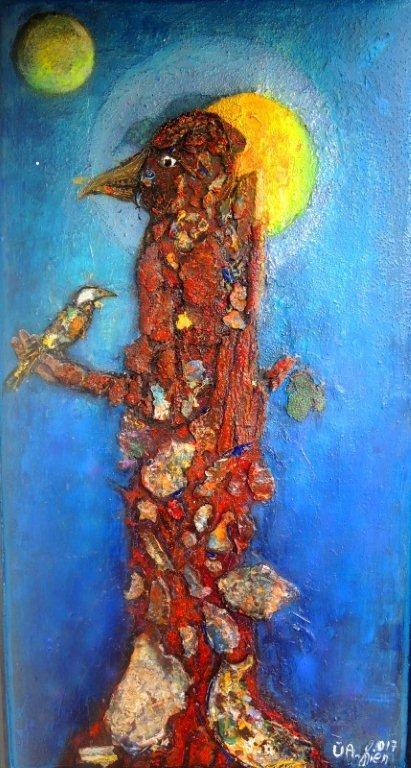 """""""Der Vogelwilli"""" - Collage mit Rinde und Acrylfestelementen - 150x80 cm"""