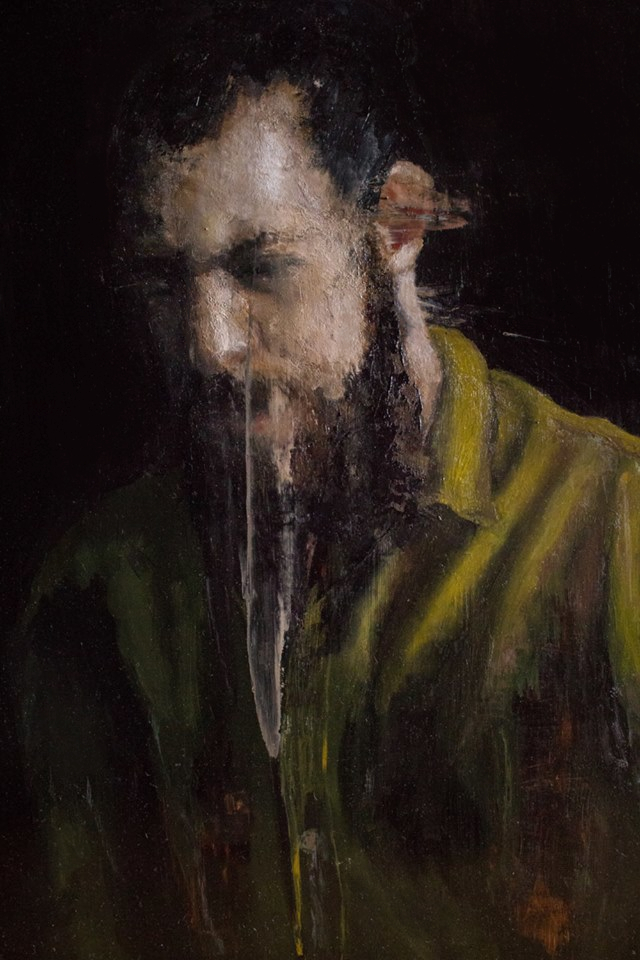 """Man with green shirt"" 2018 - Öl auf Kupferplatte - 60x50 cm"