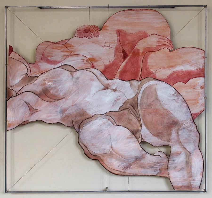 2011 Röteln auf Papier transparent im Eisenrahmen gehängt - 100x97 cm