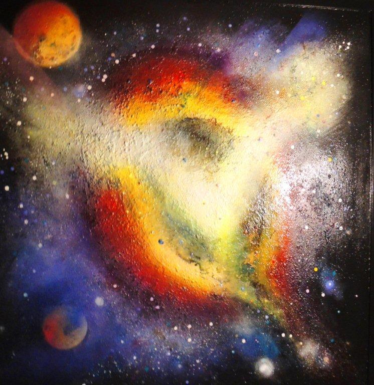 """""""Nr. 11 aus Charon"""" - Pigmente auf Hartfaser - 140x140 cm"""