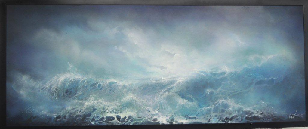 """""""Riesenmeer"""" - Acryl auf Hartfaser - 80x200 cm"""
