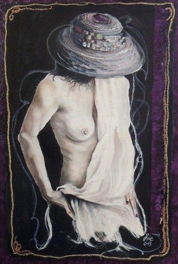 """""""Feiner Stoff Nr. 1 aus Zyklus erotica"""" - Pastellkreide auf Büttenpapier - 76x52 cm"""