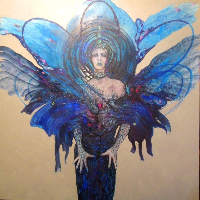 """Die blaue Mauritius"" - Pigmente auf Hartfaser - 130x130 cm"