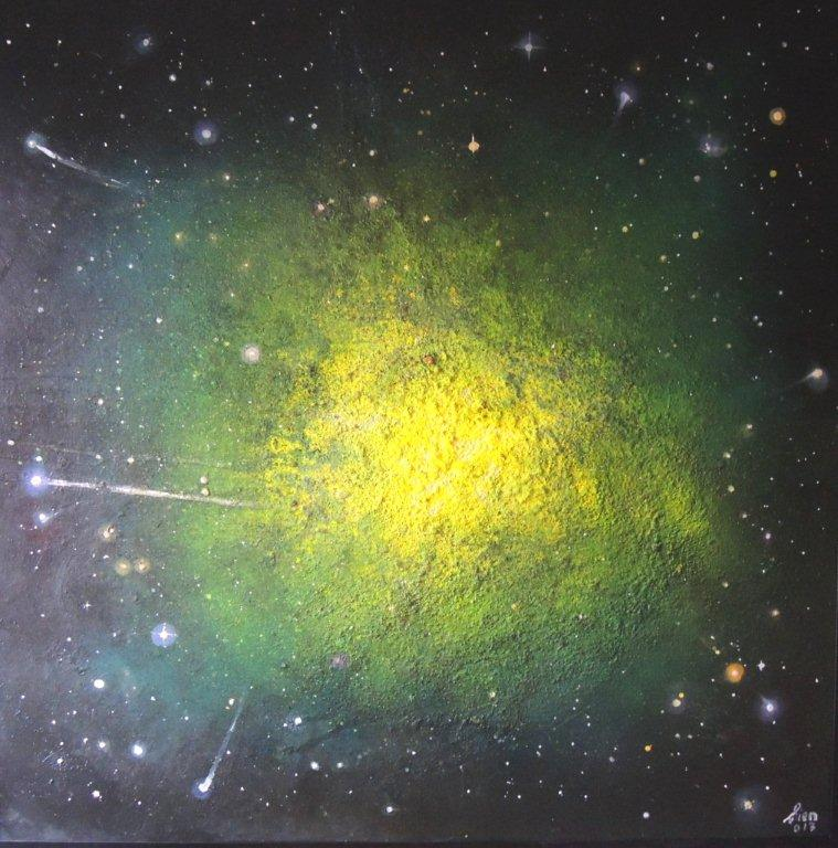 """""""Nr. 7 aus Charon"""" - Pigmente auf Hartfaser - 140x140 cm"""