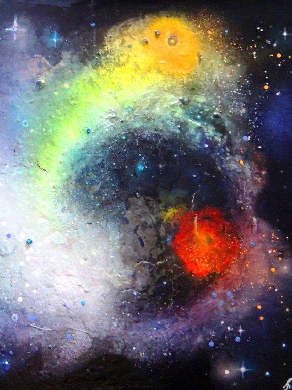 """""""Nr. 2 aus Charon"""" - Pigmente auf Hartfaser - 80x60 cm"""