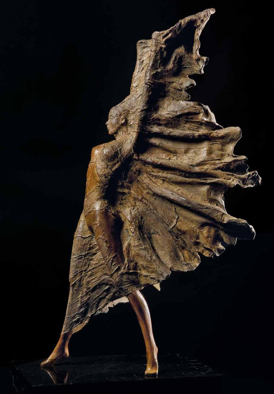 """Sesazioni di vento celate"" - Bronze - 63x34x32 cm"