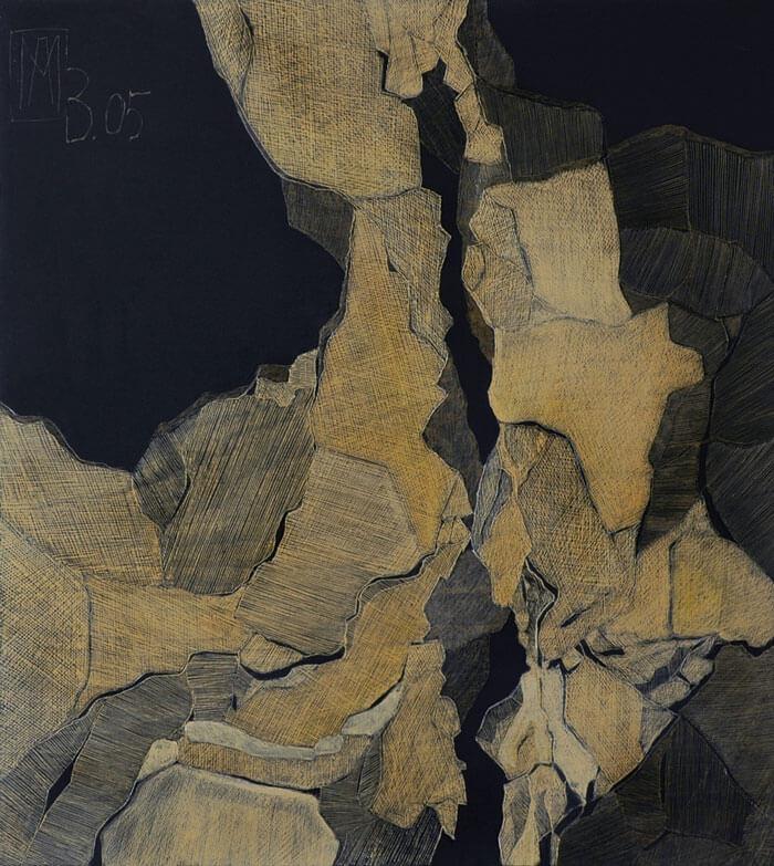 2004 Ritztechnik auf Holz - 92x83 cm