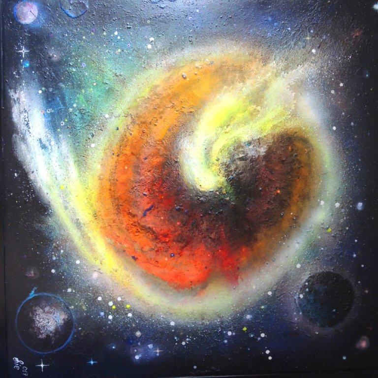 """""""Nr. 8 aus Charon"""" - Pigmente auf Hartfaser - 140x140 cm"""