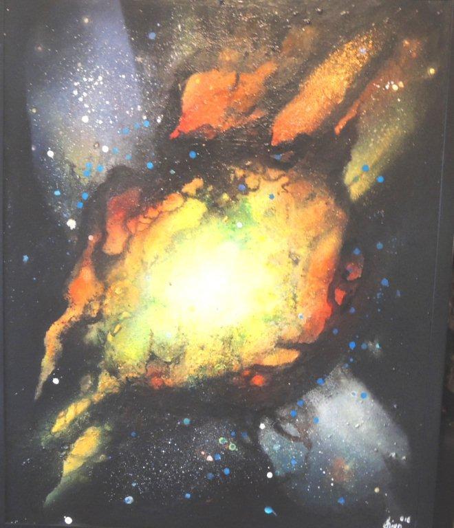 """""""Nr. 4 aus Charon"""" - Pigmente auf Hartfaser - 100x80 cm"""
