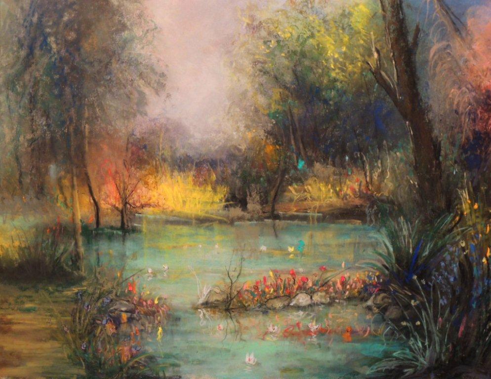 """""""See im Wald"""" - Pastellkreide hinter Glas - 50x60 cm"""