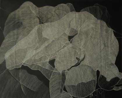 - Ritztechnik auf Acrylglas - 90x94 cm