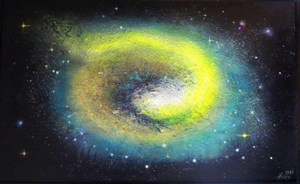 """""""Nr. 1 aus Charon"""" - Pigmente auf Hartfaser - 130x130 cm"""