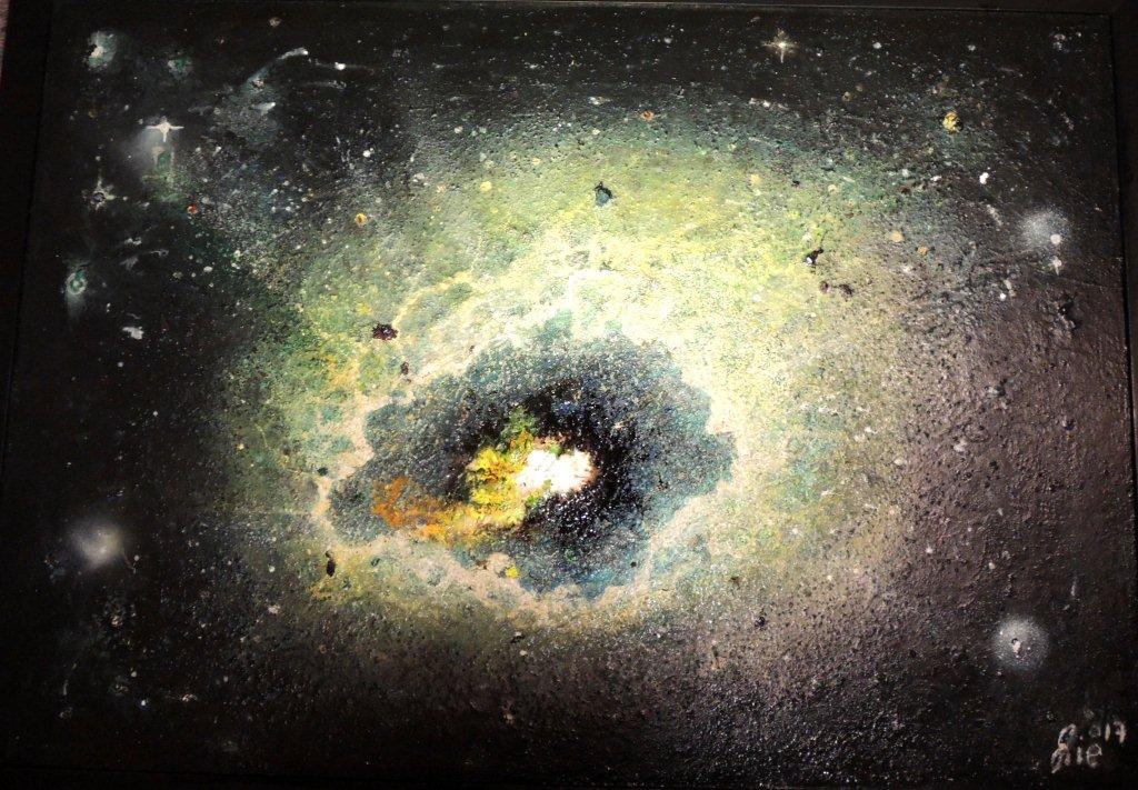 """""""Nr. 3 aus Charon"""" - Pigmente auf Hartfaser - 100x70 cm"""