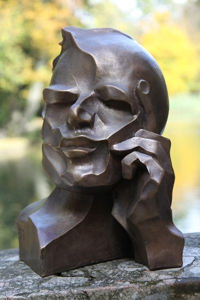 """""""Der Denker"""" - Bronze gebeizt - 30 cm"""