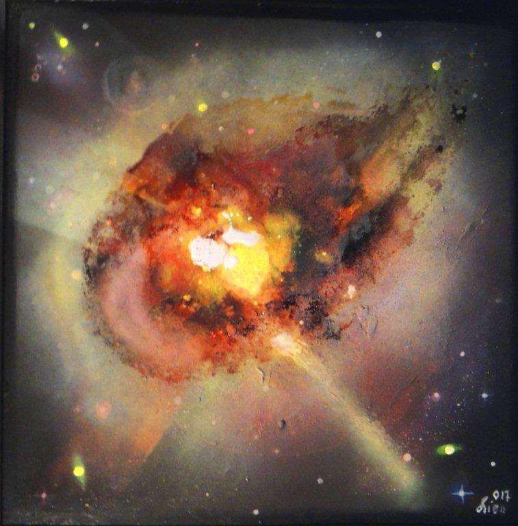 """""""Nr. 5 aus Charon"""" - Pigmente auf Hartfaser - 80x80 cm"""