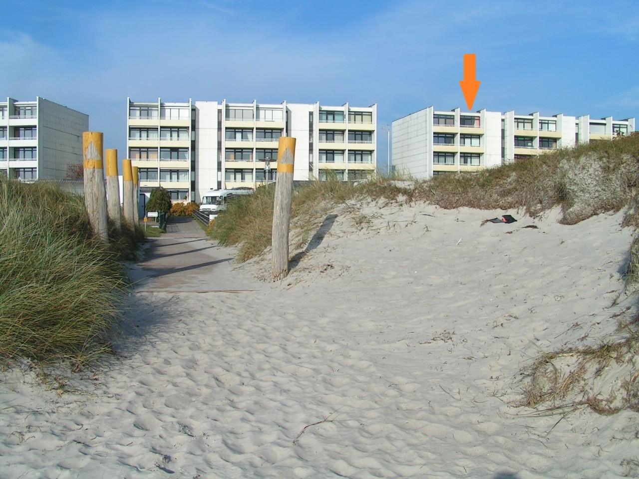 Die Wohnung vom Strand aus gesehen