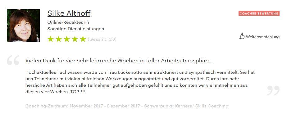 Trainerreferenz für C. Lückenotto von S.Althoff