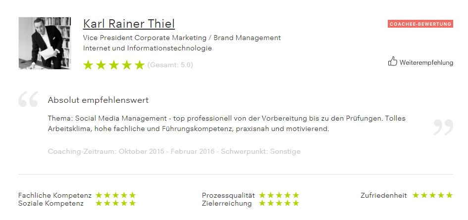 Bewertung von Karl Rainer Thiel, Vice President Corporate Marketing