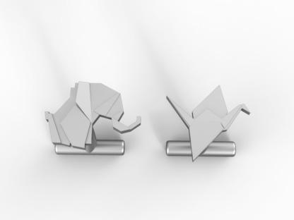 Manschettenknöpfe Origamifigur aus Silber