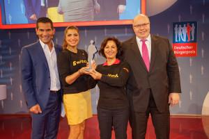 v.links n. rechts: Mitri Sirin (ZDF-Morgenmagazin), Elli Alibek (ehrenamtliche Mitarbeiterin Kulturbrücke Hamburg), Hourvash Pourkian (Switch- und Kulturbrücke Hamburg-Gründerin), Peter Altmeier (Kanzleramtschef, CDU)