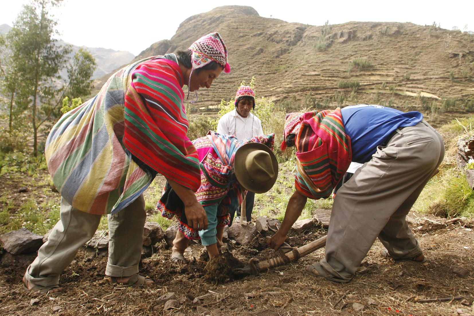 Andenbauern mit ihren traditionellen Werkzeugen
