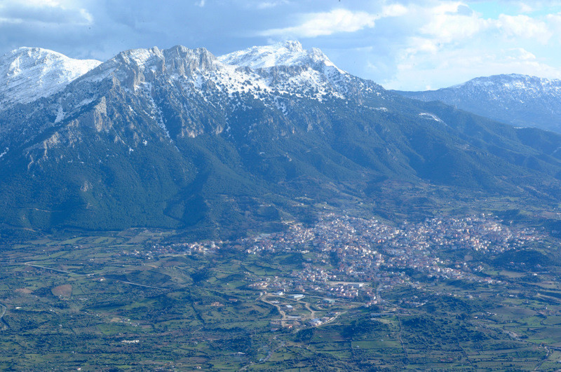 Snow capped Supramonte mountain