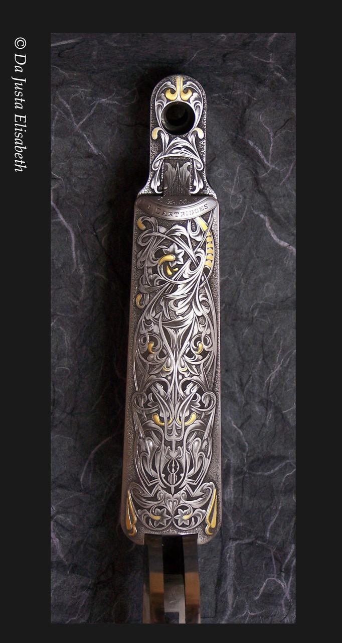 gravure Gothique H&H: Cal 375. f-creux, incrustation or.