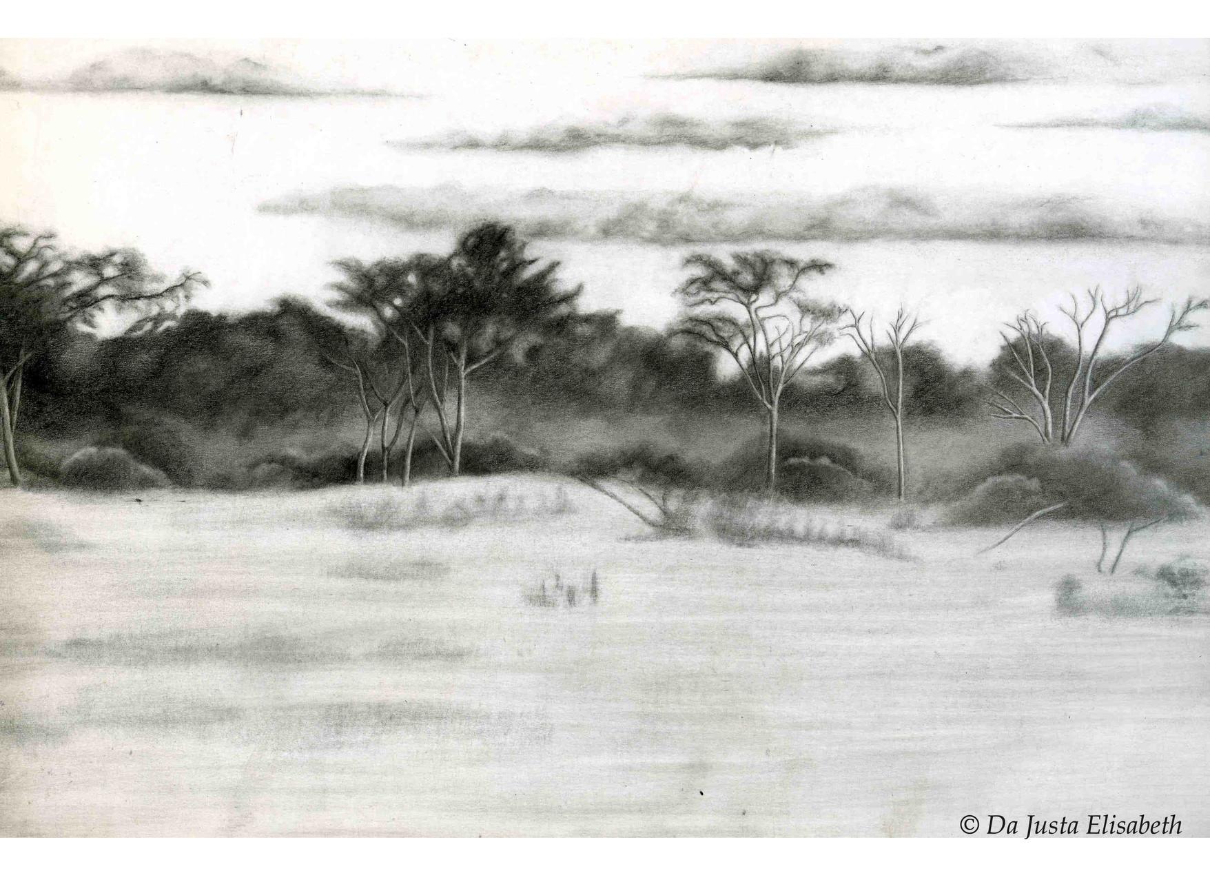 Dessin paysage africain