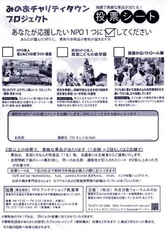 寄付先の「投票シート」(投票実施店に置いてあります)