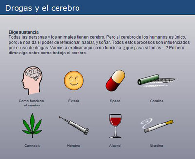 Ver aplicación en flash con los efectos de las distintas drogas. Cortesia de Jellinek