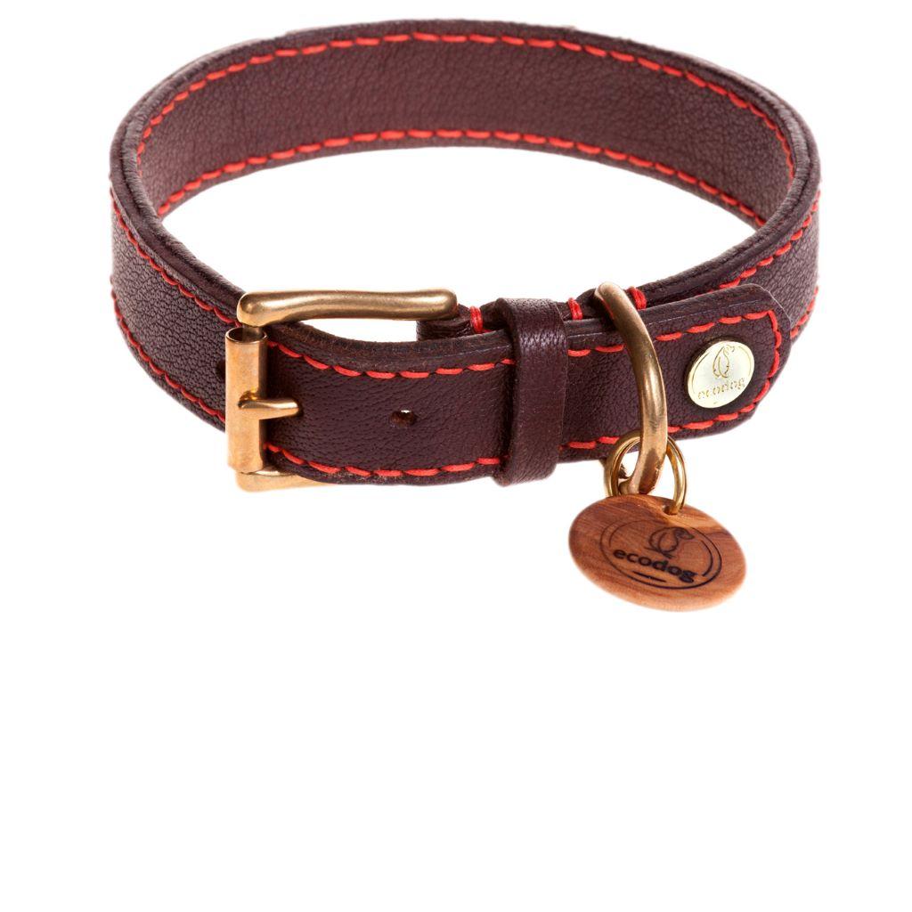 ecodog®Halsband handgenäht kaminrot