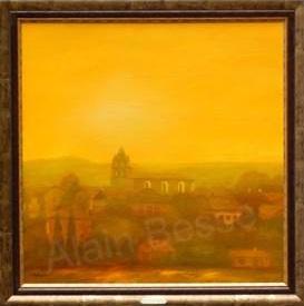 paulhac, pays-doré- village, eglise, paysage, doré, or, encadré or, village