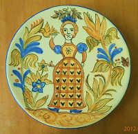 水彩技法の民芸皿
