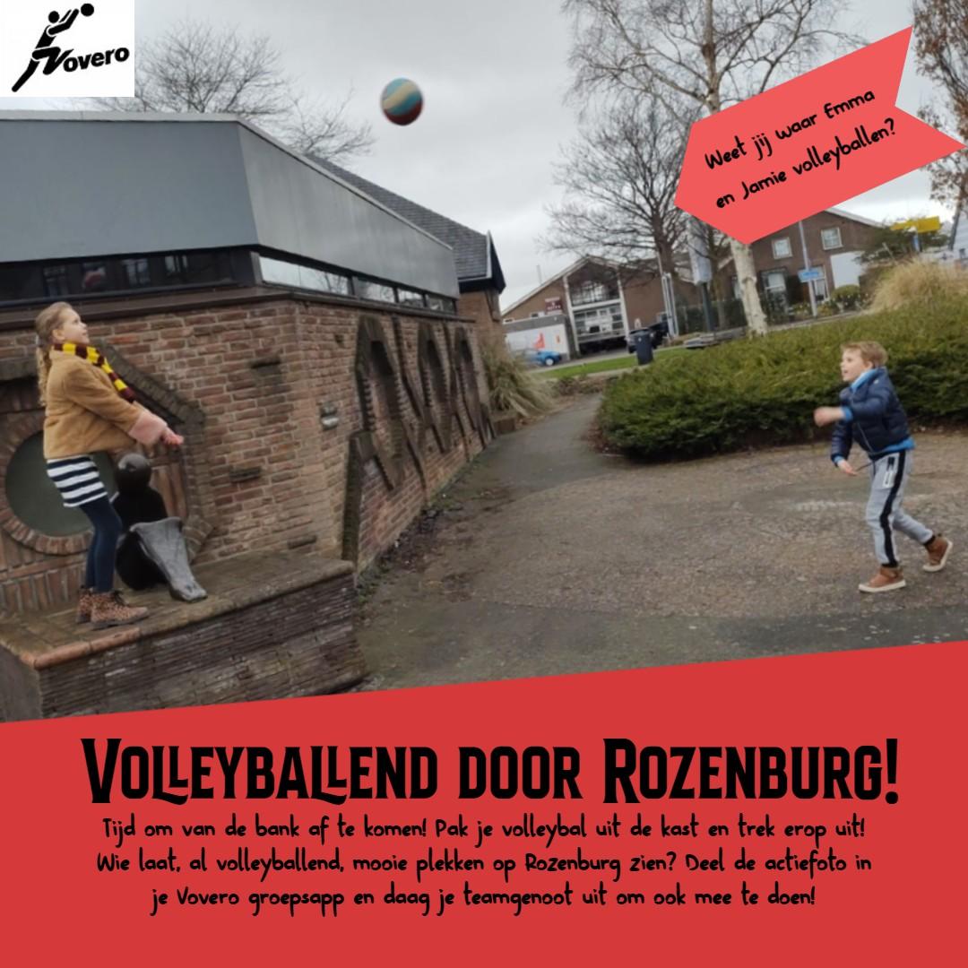 Emma en Jamie (VoVeRo) gaan volleyballend door Rozenburg.