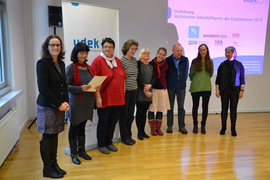 1. Platz beim Sächsischen Selbsthilfepreis, 24.10.16 in Dresden, mit D. Neukirch (SPD)