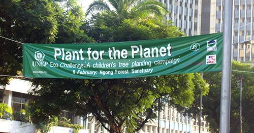 Official banner at the main street in Nairobi