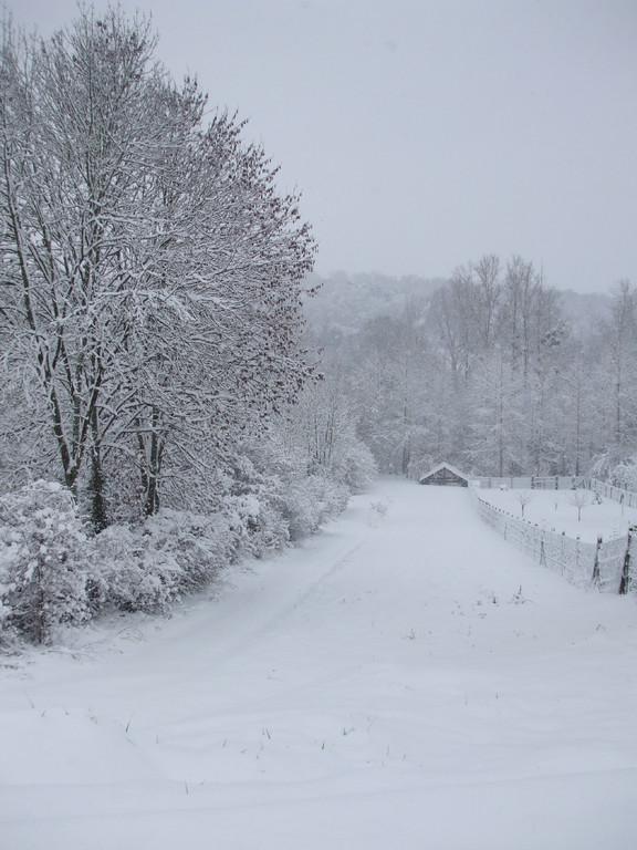 Morienval sous la neige (Décembre 2010) avec vue sur un lavoir au loin