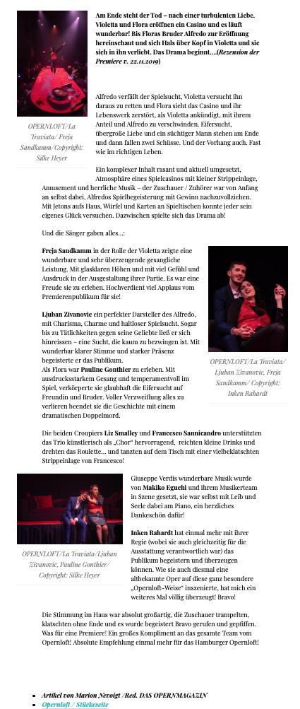 Opernloft, Bühnenfotografin