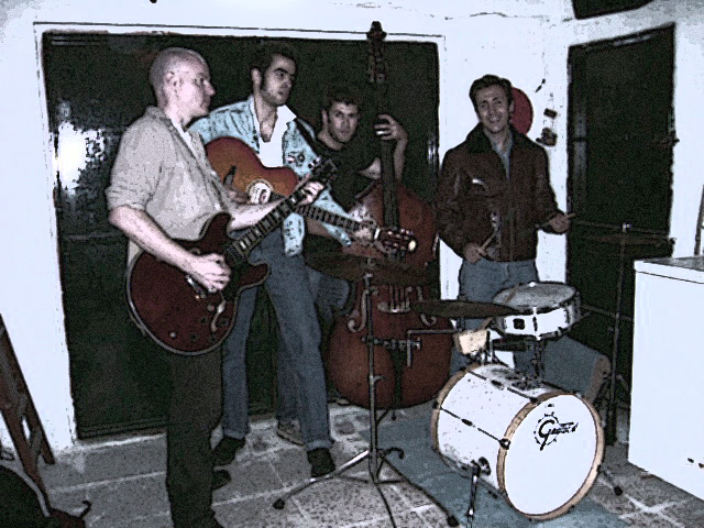 Publicity shot for Spanish rockabilly band 'Stressless Rockin' Band in Seville, Spain. 2005